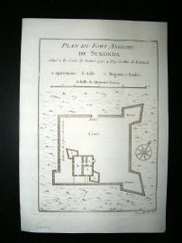 Africa Ghana: C1750 Antique Map, Fort de Sukonda. Bellin Prevost